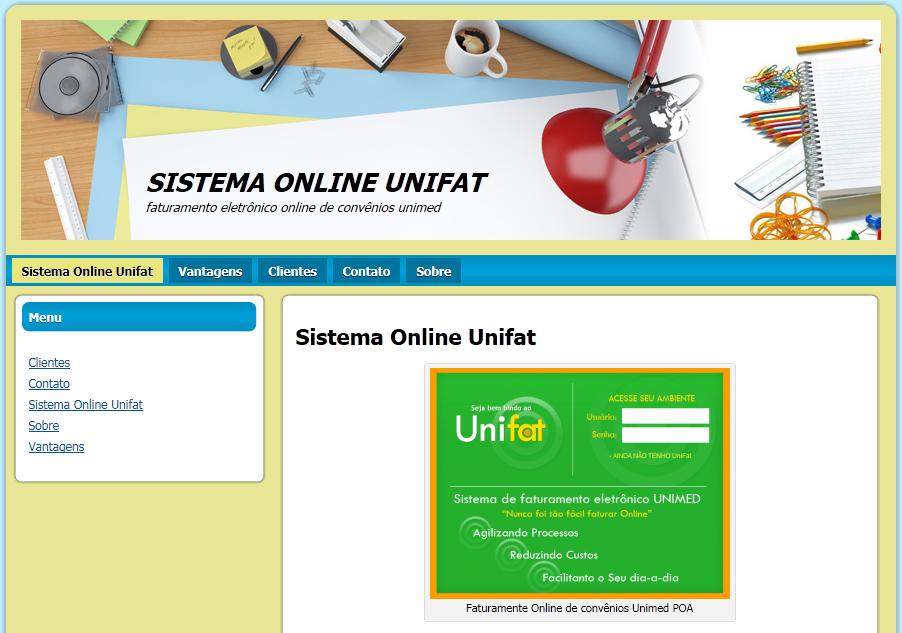 Novo site sistema online unifat parafaturamento de convenios unimed