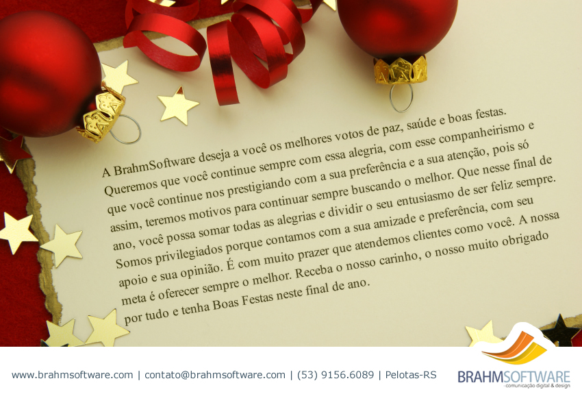 Mensagem de Feliz Natal e Próspero Ano Novo da BrahmSoftware